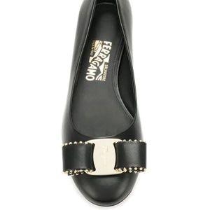 Salvatore Ferragamo Varina Black Leather Gold Flat